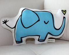 Blue Elephant Pillow