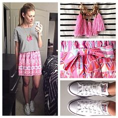 skirt, van, chic outfits, necklac