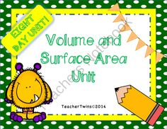 Volume and Surface Area Unit Common Core 7 G.3 and 7 G.6 from Teacher Twins on TeachersNotebook.com -  (125 pages)  - This is an 8 day unit on Volume and Surface Area of Prisms and Pyramids. Each day has a power point that includes a warm-up with answers, notes and a closure of the lesson.