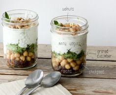 Minty Yogurt Parfait   - greek yogurt, mint, cucumber, raisins [blergh], chickpeas, lightly toasted walnuts salad, minti yogurt, whole foods, yogurt parfait, eat, work lunch, recip, walnuts, chickpeas