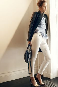 white jeans & jacket | madewell