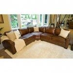 Elements Fine Home Furnishings - Rustic Brown Leather Sectional Sofa - SEC-LAFL-RAFL-CS-RUST-1  SPECIAL PRICE: $3,049.99