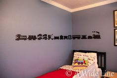 A Train themed toddler boy bedroom: chalkboard paper wall decals on Etsy
