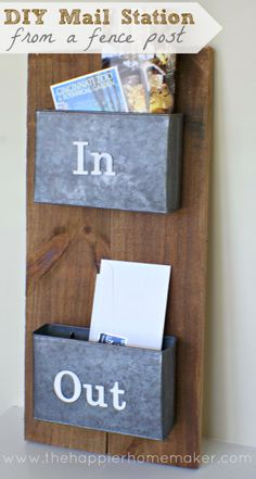A piece of scrap #wood gets a new purpose as a #mail #station—and all it needed was a coat of brown #stain under a #polyurethane seal. Put some organizers on top of the freshly coated board, and hang it on your wall to #organize your mail piles.