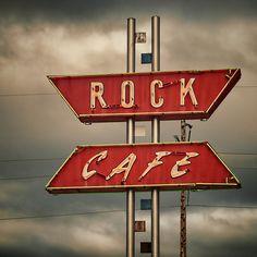 1936, oklahoma, rock café, neon, vintage signs