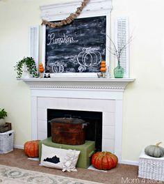 Autumn - Fall Mantel at Mom 4 Real