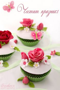 Utterly gorgeous, festively springtime inspired floral cupcakes. #flowers #wedding #decorated #amazing #food #baking #dessert #cupcakes #cake