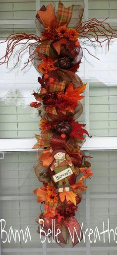 Fall decor ribbon, fall wreaths, vertic wreath, wreath altern