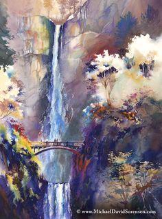 """""""Memories at Multnomah Falls"""" - Watercolor and watercolor crayon by Michael David Sorensen. www.MichaelDavidSorensen.com www.facebook.com/michaeldavidsorensen"""