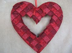 No- Sew Quilted Heart Wreath (12 inches) | Craft Project | YouCanMakeThis.com