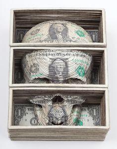 Lazer-cut dollar bills by Scott Campbell     http://scottcampbellstudio.com/