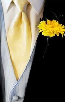 I like how there's a nice soft grey vest under a black suit.  The tie is a nice soft yellow.  The flower is happy.