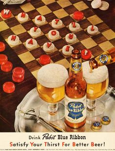 Pabst Blue Ribbon beer ad, 1952  #vintage #1950s | Tumblr