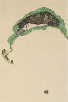 Farmhouse on the hill, Egon Schiele. (1890 - 1918)