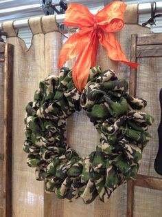 Camo Burlap Bubble Wreath for Deer season? It's a holiday around here!