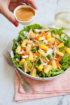 Chicken Salad with Pineapple and miso dressing /
