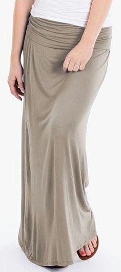 Stone Taupe Maxi Skirt