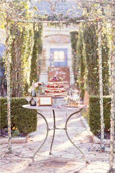 garden wedding cake table ideas