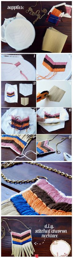 DIY stitched chevron necklace