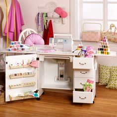 Arrow 301 Airlift Sewing Cabinet with Drawers - White