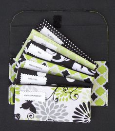 CASH ENVELOPES, Budget System, Wallet and Coin Pouch - Black & lime diamonds (It can be used with the Dave Ramsey system)