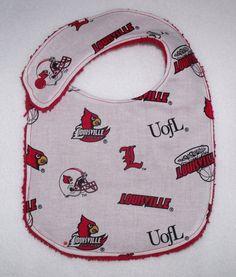U of L University of Louisville Cardinals logo baby bib boy or girl newborn. $8.50, via Etsy.