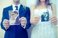 Get a photo of you holding your parents' wedding photos.