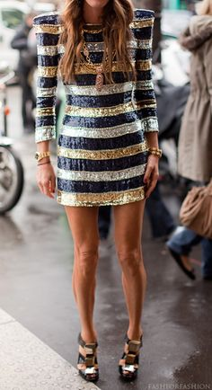 balmain, new years dress, party dresses, anna dello russo, sequins, street styles, the dress, cocktail dresses, stripes