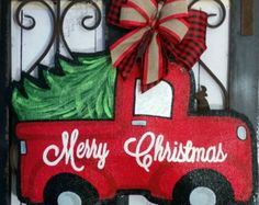 Santa face hand painted burlap door hanger. by ConnieRisleyCrafts