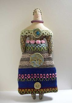 christmas, buttons, folk art dolls, vintage style