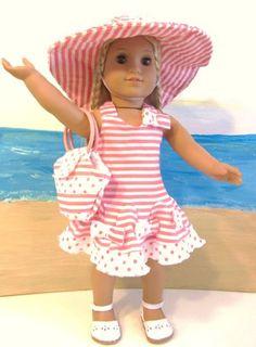 Beautiful Summer Sun Dress, Hat, Purse for 18 Inch Dolls, Fits American Girl Doll Pink & White Stripes & Dots!! The Wishlist Store Doll Clothes http://www.amazon.com/dp/B007V5CADM/ref=cm_sw_r_pi_dp_UcHYtb1SJ0MYPATB