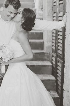 Adorable bride and groom picture, wedding photography, wedding ideas, black and white photos