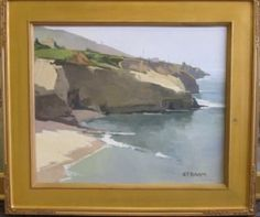 "Early California Impressionism - Point Loma Cliffs by, Paul Strahm  Oil on Canvas  Impressionism  20""h x 24""w"