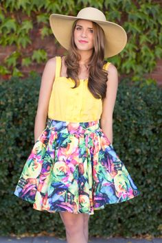 floral skirt :: yellow