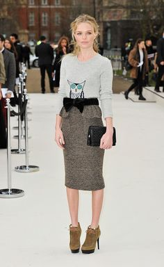 Lovely girl...lovely outfit. outfits, sweater, style, burberry, kate bosworth, pencil skirts, london fashion, owls, shirt