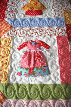 Charming Doll dress quilt...too cute <3 Notice the little cherry fabric <3 #CherryFabric #Quilting