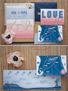 super cute pink and blue wedding invitations #weddinginvitations #stationery #weddingchicks http://www.weddingchicks.com/2014/04/07/playful-pink-and-navy-wedding/