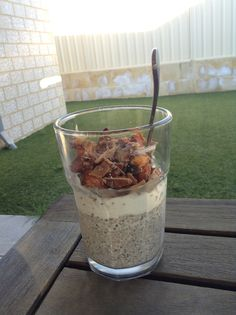 Breakfast: Overnight coconut chia pudding topped with coconut yoghurt and @I Quit Sugar 's homemade crunchy granola..... Pure bliss :)