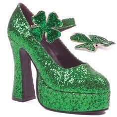 Sparkly Green Shamrock Platform Shoes