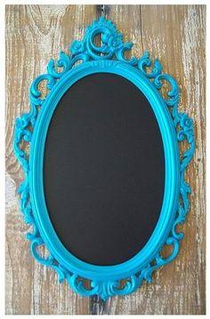 Framed Chalkboard-  Repurpose an old mirror into a beautiful framed chalkboard