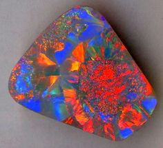 "Black Opal    Black opal is the most coveted of all opal varities and at the high end of the market, The ""black"" in black opal means the gem has a very dark body tone. A black opal can be crystal or opaque. The rarest colour is red, next is green and orange with blue as the most common colour. Semi-black opal  has an inherent darkness in it's body colour when viewed against a white background. Mid-grey stones are termed as semi-black. About 70% of the black opals come from Lightning Ridge, mu..."