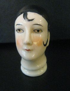 vintage pin Cushion Doll head Art Deco Marked germany