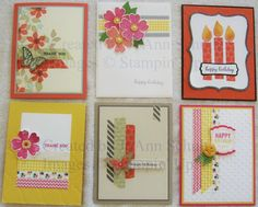 board of handmade cards using Washi Tape  by jreks  ... Stampin' Up!