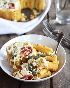 #Butternut Squash And Gorgonzola Rigatoni Pasta Pie With Fried Sage