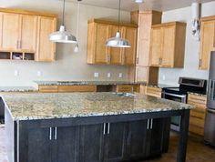 big black kitchen island, santa cecilia granite