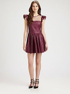 RED Valentino Lace Overlay Leather Dress parti dress