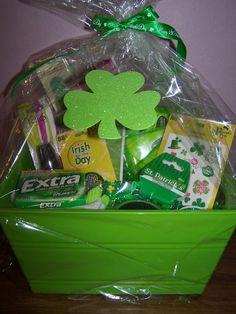 gift baskets, facial mask, green nail, secret pal gifts, green gifts, green gift basket