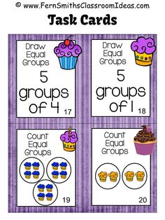 "#FREE Preview for Four ""Equal Groups"" Task Cards to try before you buy! Equal Groups Task Cards and Recording Sheet for 3.OA.A.1 ~ Cupcake Themed #TPT $Paid"