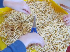 Spaghetti for sensory and tool play