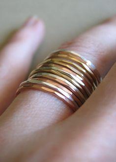 rose, yellow & white gold stacking rings